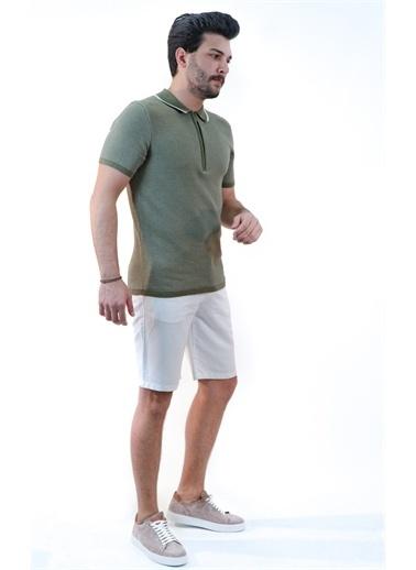 Boris Becker Kısa Kol Polo Yaka Fermuar Detaylı Desenli Erkek Tshirt Haki